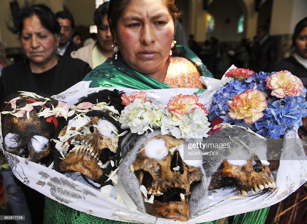 A woman carries five skulls for paying tribute to the so-called Ñatitas (snubed nose skulls) during the Day of the Skulls, at La Paz's general cemetery on November 8, 2010. Food, alcoholic beverages and cigarrettes are offered to the skulls of relatives or unidentified people as part of a traditional ritual in the Bolivian Andes -- a mixture of pagan and Catholic traditions -- to thank the dead for their protection.