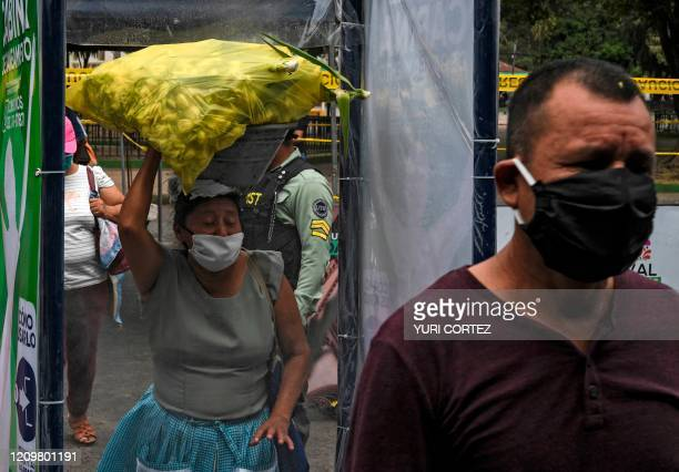 Woman carrying a bag goes through a sanitary cabin installed by the municipality at the entrance to a market to prevent the spread of the coronavirus...