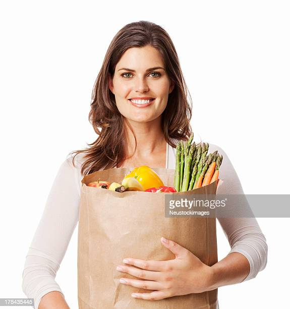 Woman Carrying a Bag Of Healthy Groceries - Isolated