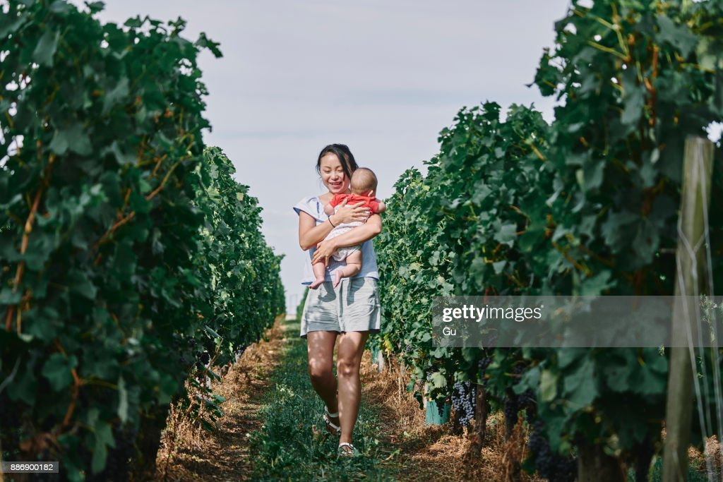 Woman carrying baby girl through vineyard, Bergerac, Aquitaine, France