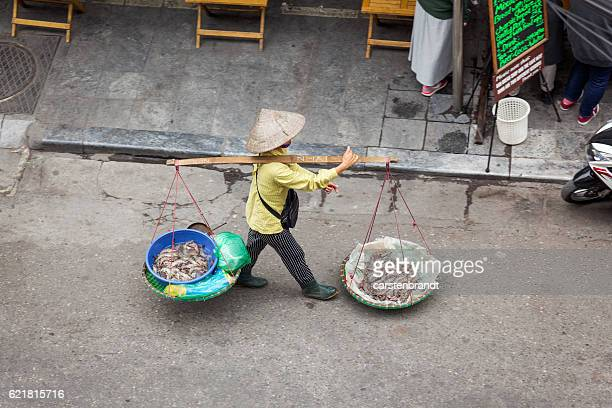 woman carrying baskets with shrimps in hanoi - yoke stock photos and pictures
