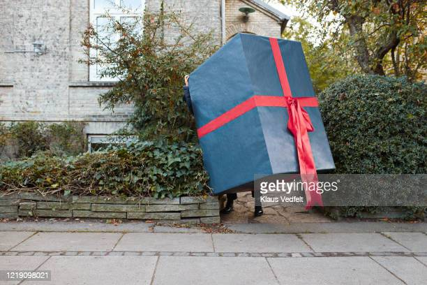 woman carrying large wrapped gift box on footpath - large stock pictures, royalty-free photos & images