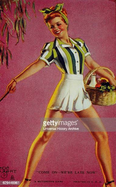 Woman Carrying Picnic Basket Come on We're Late Now Mutoscope Card 1940's