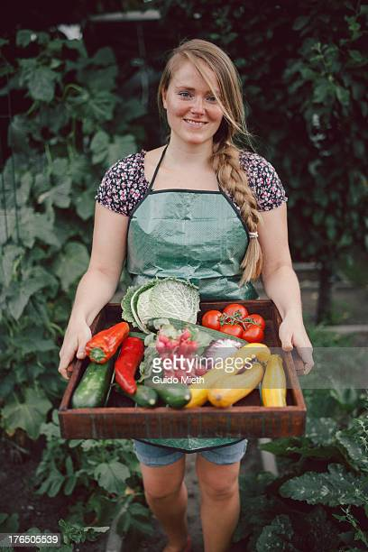 Woman carrying ripe organic vegetables in garden.