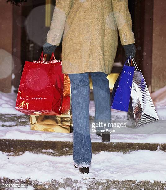 woman carrying shopping bags up snow covered steps, rear view - tacchi alti foto e immagini stock