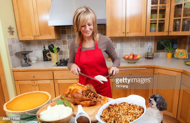 woman carving roast turkey preparing thanksgiving and christmas dinner - thanksgiving dog stock pictures, royalty-free photos & images