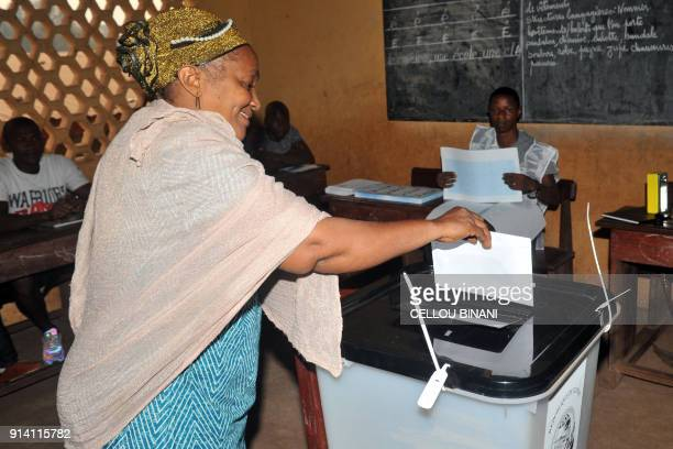 A woman casts her ballot as part of the vote in the first local elections since the end of the era of military dictatorship in 2005 on February 4...
