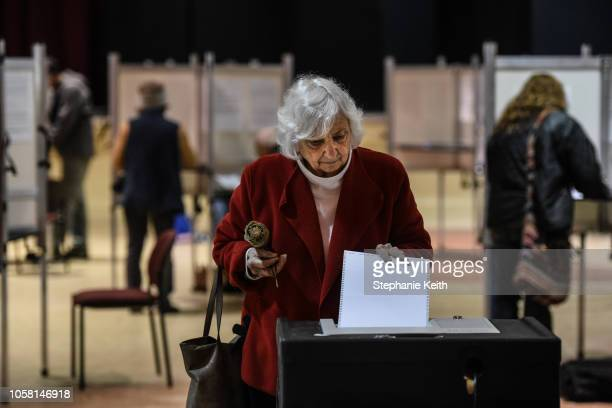 Woman casts her vote at the Montpelier Town Hall on November 6, 2018 in Montpelier, Vermont. Turnout is expected to be high nationwide as Democrats...
