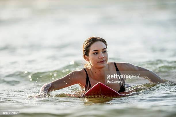 Woman Catching a Wave
