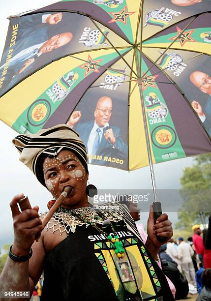 A woman celebrates at the inauguration ceremony for South Africa's president elect Jacob Zuma in Pretoria South Africa on Saturday May 9 2009 Zuma...