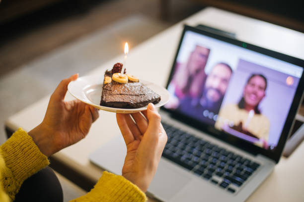 woman celebrating birthday with video conference - best friend birthday cake stock pictures, royalty-free photos & images