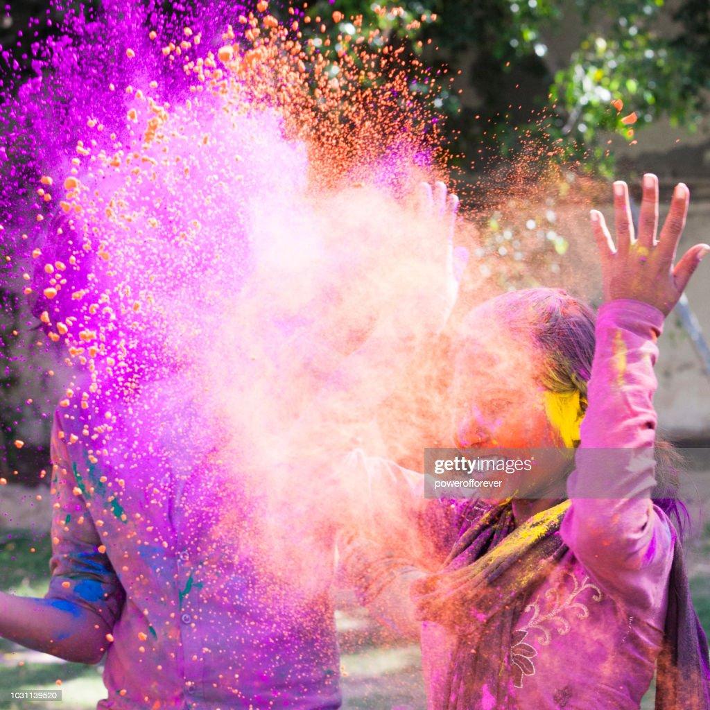 Woman Celebrating Holi in Jaipur, India : Stock Photo