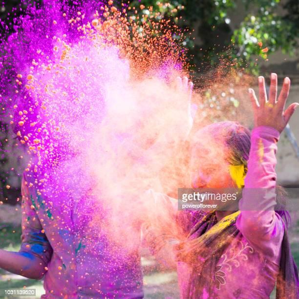Woman Celebrating Holi in Jaipur, India