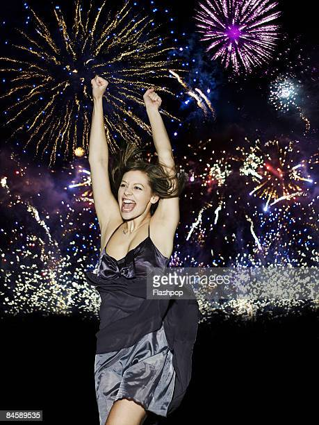 woman celebrating - new year's eve stock pictures, royalty-free photos & images