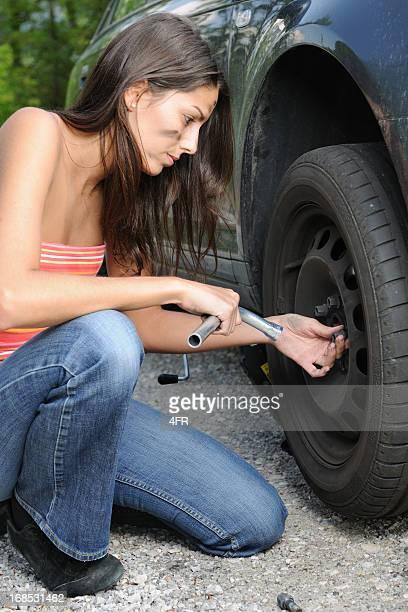 Woman changing Tires (XXXL)