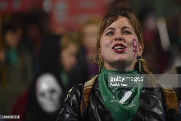 A woman chants during a protest as part of the 'Not One Less' movement demanding legal abortion on June 04 2018 in Buenos Aires Argentina