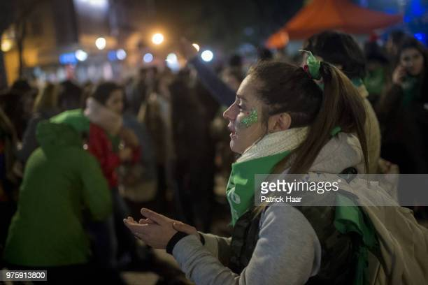 A woman chants pro abortion slogans during a rally to demand legal and free abortion at Congressional Plaza on June 13 2018 in Buenos Aires Argentina...