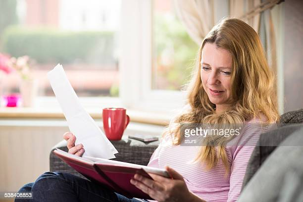 woman checking her online accounts