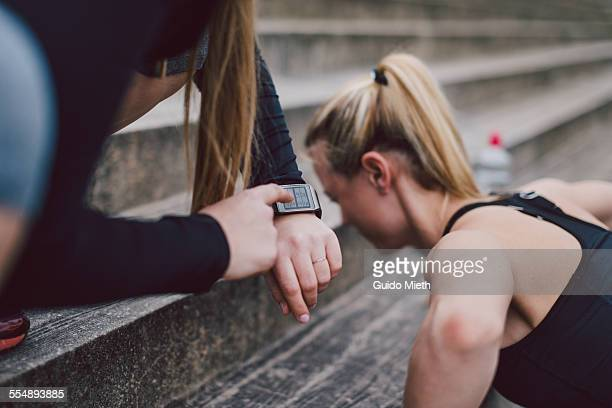 Woman checking smartwatch