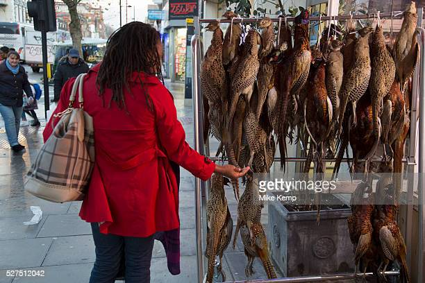 Woman checking the qulaity of pheasants hanging up outside a traditional British butchers shop on Bethnal Green Road London UK Once a White British...