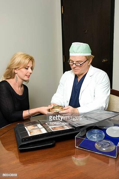 Woman choosing breast implants