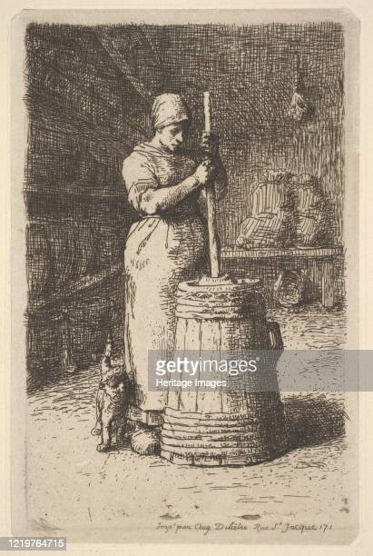 Woman Churning Butter 185556 Artist Jean Francois Millet