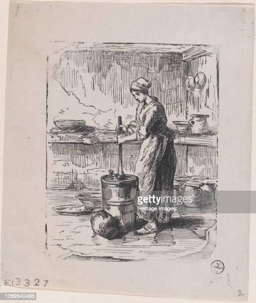 Woman Churning, ca. 1850-59. Artist Jacques-Adrien Lavieille.