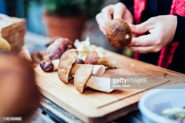woman cleaning a few mushrooms at home. - mushrooms stock pictures, royalty-free photos & images