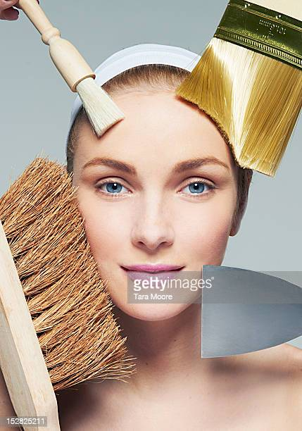woman cleaning face with household objects