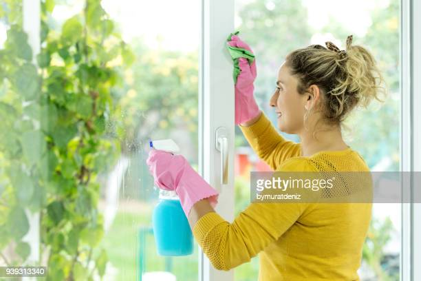 woman cleaning home - window cleaning stock photos and pictures