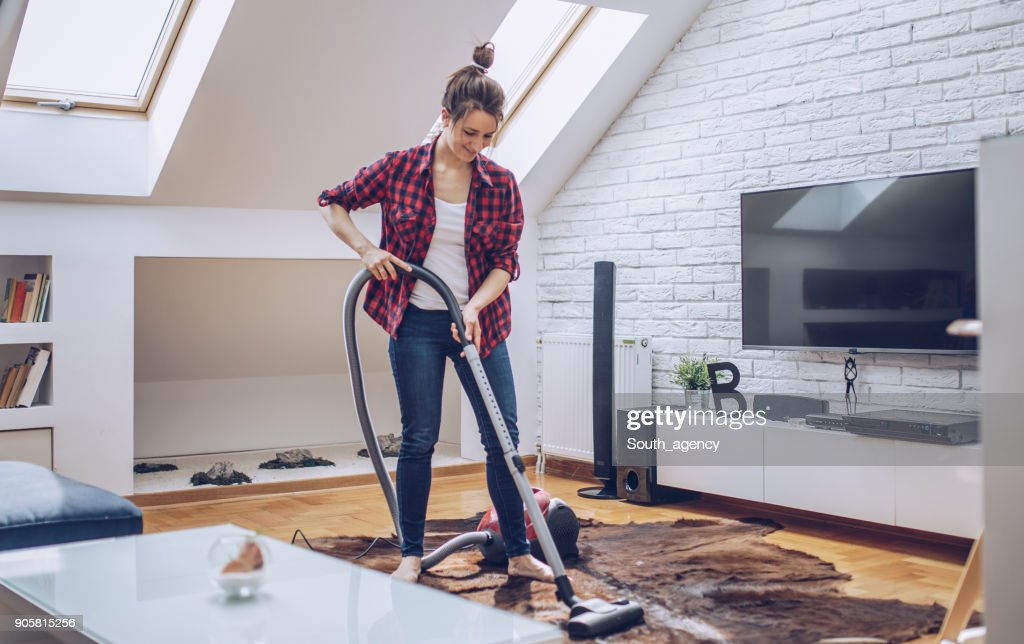 Woman cleaning house : Stock Photo