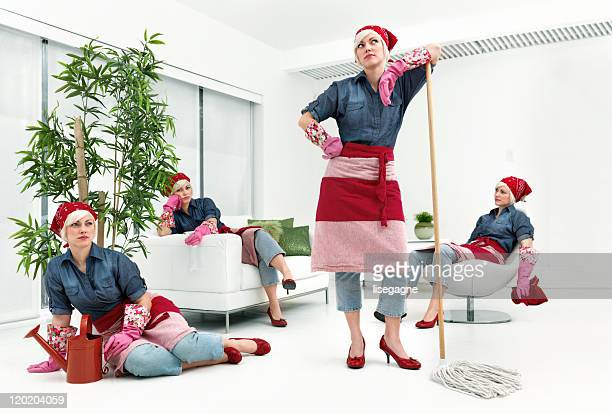 woman cleaning - cloning stock pictures, royalty-free photos & images