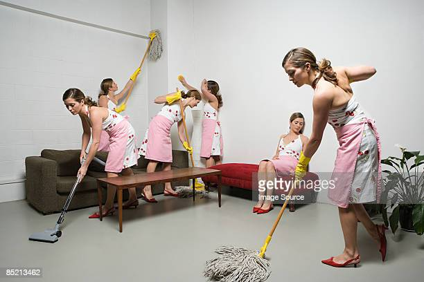 woman cleaning - multiple image stock pictures, royalty-free photos & images