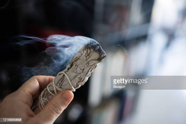 woman cleansing the air by smudging burning sage indoors in miami florida - bundle stock pictures, royalty-free photos & images
