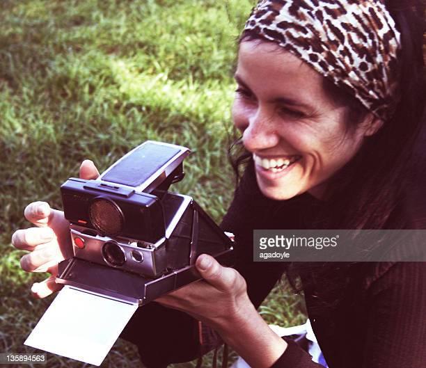Woman clicking photo