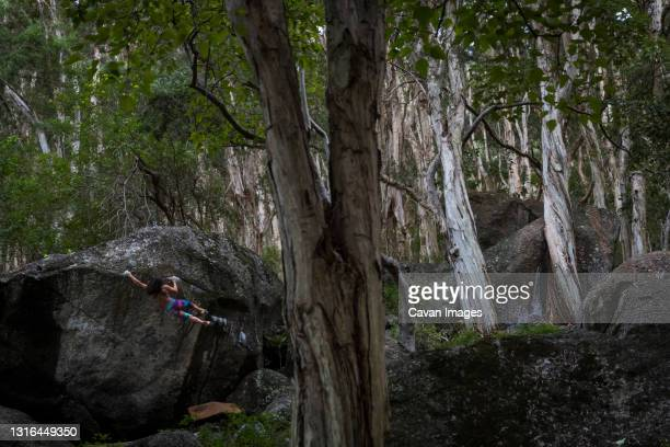 woman climbing a massive boulder on an overcast day in hawaii - bedrock stock pictures, royalty-free photos & images