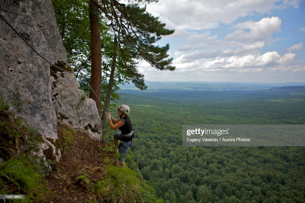 Woman Climbing Cliff Via Ferrata Guam Gorge Krasnodar Krai Russia High Res Stock Photo Getty Images