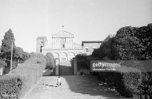 "Woman climbing the San Miniato al Monte staircase. Florence, 1950s """