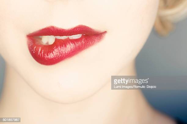 Woman, Close-up of human lips, making a face