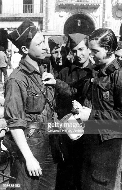 Woman collecting funds for the Nationalist forces in Salamanca during the Spanish Civil War 1937