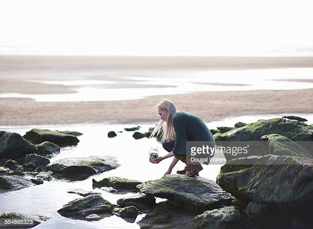 Woman collecting stones on rocky beach.