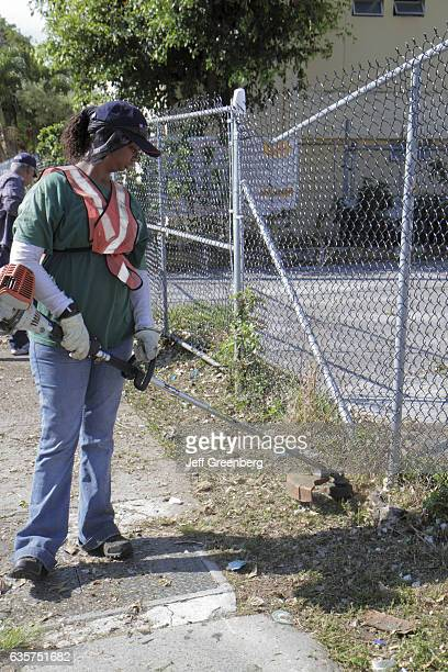 A woman collecting trash on a community cleanup in Little Havana