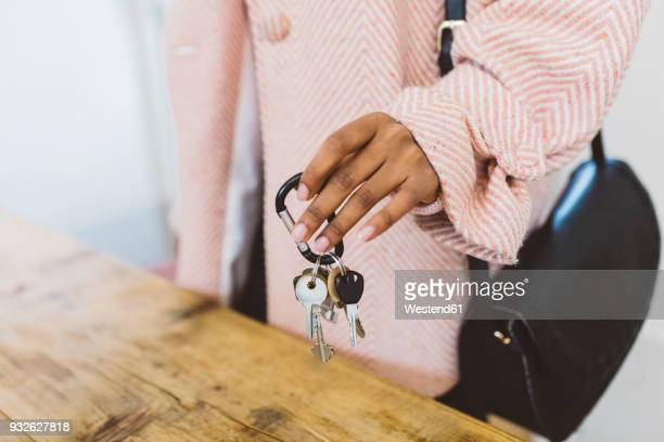 Woman coming home, putting keys on table
