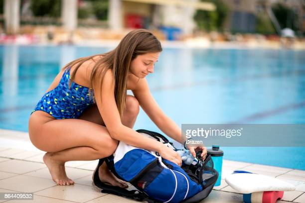 Woman coming to swimming training