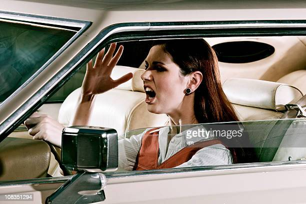 Woman commuting in traffic
