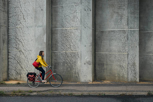 Woman commuting to work on her bicycle
