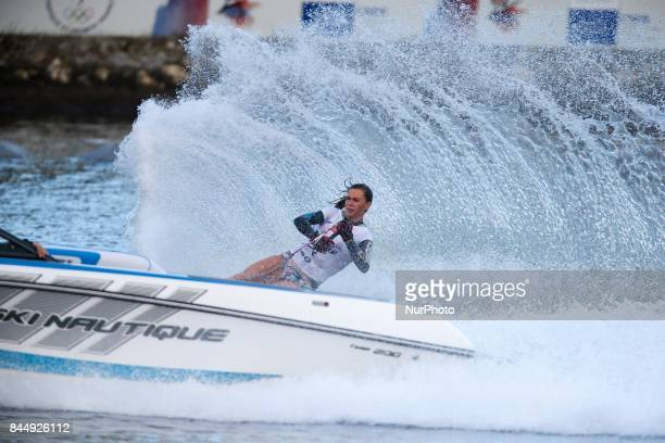 A woman competes during the womens slalom final match of the 2017 IWWF World Water Ski Championships on September 10 2017 in ChoisyleRoi near Paris...