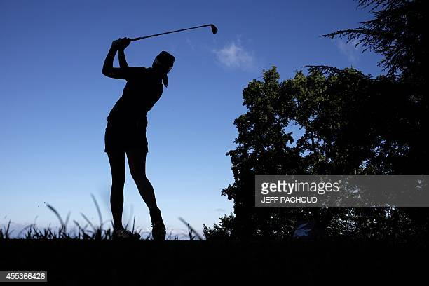Woman competes on September 13, 2014 during the Evian golf Championships, a major tournament on the women's calendar, in Evian-les-Bains, French...