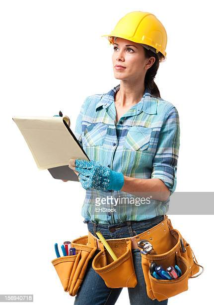 Woman Construction Contractor Carpenter Isolated on White Background