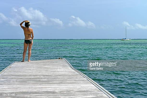 Woman contemplating ocean from pontoon